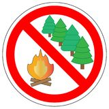 Prohibition sign of make fire in forest. Royalty Free Stock Photos