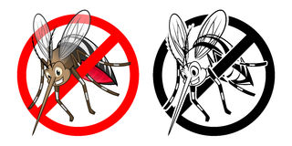 Prohibition Sign Mosquito Cartoon Character with Black and White Version Royalty Free Stock Photography