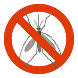 Prohibition sign with mosquito Stock Photography