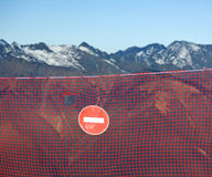 Prohibition sign in the mountains Royalty Free Stock Photos