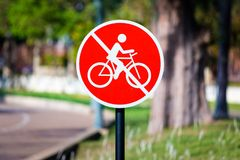 Prohibition sign , no bicycle road sign royalty free stock photography