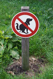 Prohibition sign no dog pooping Stock Image