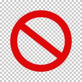 Prohibition Sign, No Symbol; Crossed out Circle. Empty NO symbol, prohibition or forbidden sign; crossed out red circle. Vector icon isolated on transparent stock illustration