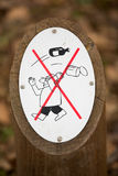 Prohibition sign outdoors in forest, don`t litter ! Stock Images