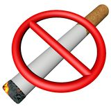 Prohibition sign over cigarette Royalty Free Stock Image