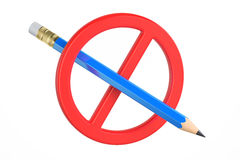 Prohibition sign with pencil, 3D rendering Stock Images