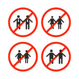 Prohibition sign for same-sex marriage, vector illustration. Stock Photos