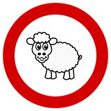 Prohibition sign with sheep Royalty Free Stock Images