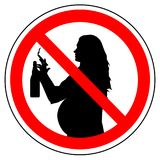 Prohibition sign of smoking cigarette and drinking alcohol for pregnant woman, vector.  Royalty Free Stock Photo