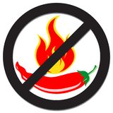Prohibition sign with spicy pepper royalty free stock photography