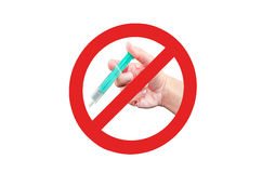 Prohibition sign with syringe Royalty Free Stock Photo