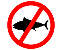 Prohibition sign tuna fishing Royalty Free Stock Photography