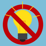 Prohibition sign of use of incandescent light bulbs Royalty Free Stock Photos