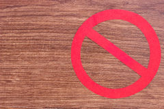 Prohibition sign on wooden background, copy space for text Stock Photography