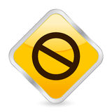 Prohibition sign yellow icon royalty free illustration