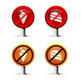 Prohibition signs. Of no ice-cream and no food on white background Stock Photography