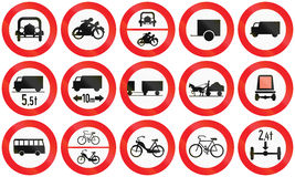 Prohibition Signs in Austria. Collection of Austrian traffic sign prohibiting and restricting thoroughfare of various vehicles Stock Photography