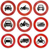 Prohibition Signs In Germany. Collection of historic and modern (bottom) signs prohibiting thoroughfare for different vehicles in Germany Stock Photography