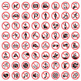 Prohibition signs icon set Stock Images