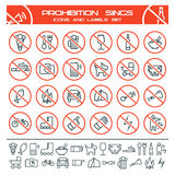 Prohibition signs. And icons in thin line style.  on white background Royalty Free Stock Images