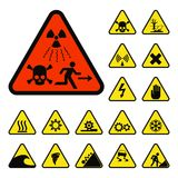Prohibition signs industry production vector warning danger symbol forbidden safety information protection no allowed Royalty Free Stock Image