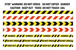 Prohibition signs industry production vector warning danger tape forbidden safety information protection no allowed. Prohibition signs set industry production Royalty Free Stock Images