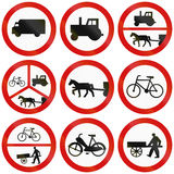 Prohibition Signs In Poland. Collection of Polish traffic signs prohibiting thoroughfare for various big or slow vehicles Royalty Free Stock Images