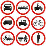 Prohibition Signs In Poland. Collection of Polish traffic signs prohibiting thoroughfare for various vehicles or pedestrians Stock Image