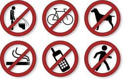 Prohibition signs Stock Photos