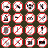 16 Prohibition signs, set  illustration Royalty Free Stock Image
