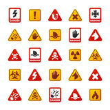 Prohibition signs set industry production vector yellow red warning danger symbol forbidden safety information and Royalty Free Stock Image