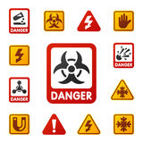 Prohibition signs set industry production vector yellow red warning danger symbol forbidden safety information vector illustration