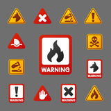 Prohibition signs set industry production vector yellow red warning danger symbol forbidden safety information and Royalty Free Stock Photos