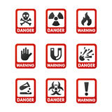 Prohibition signs set industry production vector yellow red warning danger symbol forbidden safety information stock illustration