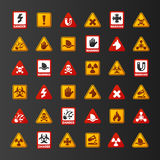 Prohibition signs set industry production vector yellow red warning danger symbol forbidden safety information and Stock Photography