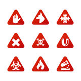 Prohibition signs set industry production vector yellow red warning danger symbol forbidden safety information and Stock Image