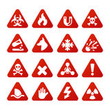 Prohibition signs set industry production vector yellow red warning danger symbol forbidden safety information. Prohibition signs set industry production vector Stock Image
