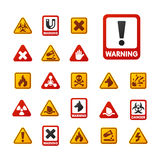Prohibition signs set industry production vector yellow red warning danger symbol forbidden safety information and Royalty Free Stock Photography