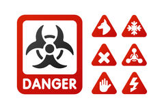 Prohibition signs set industry production vector yellow red warning danger symbol forbidden safety information and stock illustration