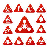 Prohibition signs set industry production vector yellow red warning danger symbol forbidden safety information and Stock Photos