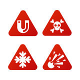 Prohibition signs set industry production vector yellow red warning danger symbol forbidden safety information and Stock Photo