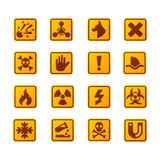 Prohibition signs set industry production vector yellow red warning danger symbol forbidden safety information and royalty free illustration
