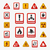 Prohibition signs set industry production vector yellow red warning danger symbol forbidden safety information royalty free illustration