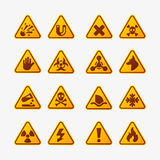 Prohibition signs set industry production vector yellow red warning danger symbol forbidden safety information and vector illustration
