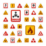 Prohibition signs set industry production vector yellow red warning danger symbol forbidden safety information and. Prohibition signs set industry production Royalty Free Stock Photography