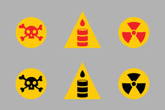 Prohibition signs set oil industry production vector yellow red warning danger symbol forbidden safety information and Stock Photography