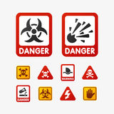 Prohibition signs set oil industry production vector yellow red warning danger symbol forbidden safety information and vector illustration