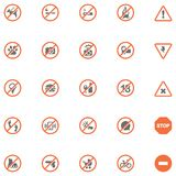 Prohibition signs set. Set of the prohibition related icons Royalty Free Stock Photography