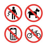 Prohibition signs set safety information vector illustration. Royalty Free Stock Photo