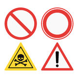 Prohibition signs set safety information vector illustration. Prohibition signs set vector illustration. Warning danger symbol forbidden safety information royalty free illustration
